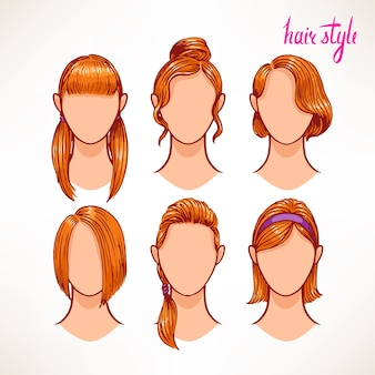 Set with different hairstyles. redhead. hand-drawn