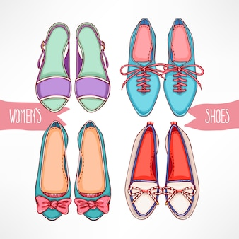 Set with different hand-drawn shoes on a white background