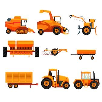 農業で使用されるさまざまな重機がセットされています。農業用車両。トラクター、トレーラー、クローラー、コンバイン、耕作機。フラットデザイン