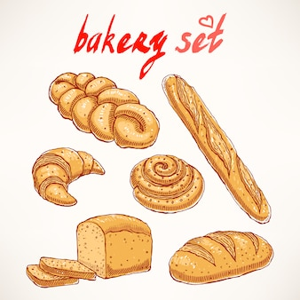 Set with different kinds of delicious hand-drawn pastries