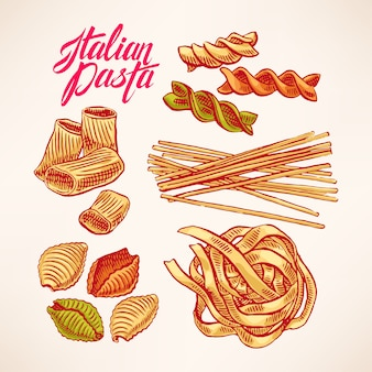 Set with different kinds of pasta