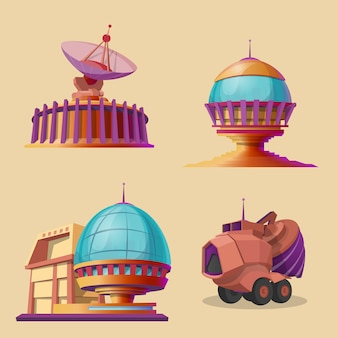 Set with different objects for space exploration, colonization and terraforming plane