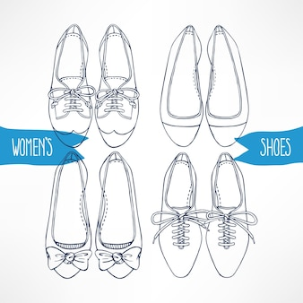Set with different sketch shoes on a white background - 2