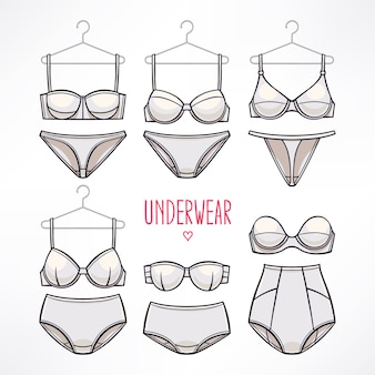 Set with different styles of lingerie. panties and bras.