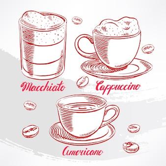 さまざまな種類のコーヒーをセット