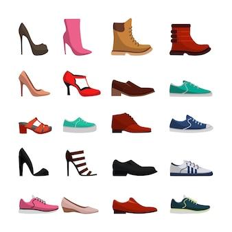 さまざまなタイプの女性と男性の靴をセット