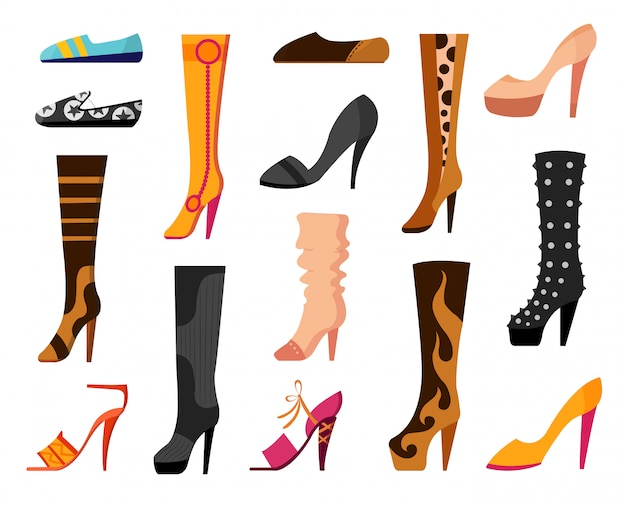 Set with different types of trend womens shoes ballets, sneakers, boots, flats, pumps, converse. vector illustration.