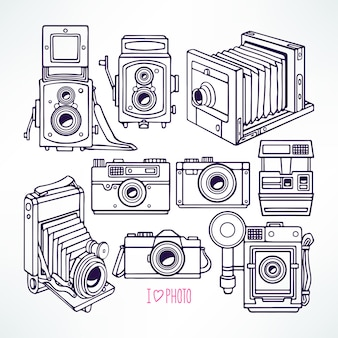 Set with different vintage cameras. hand-drawn illustration