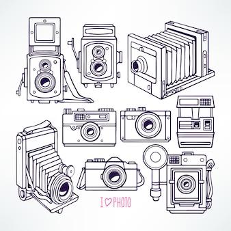 Set with different vintage cameras. hand-drawn illustration