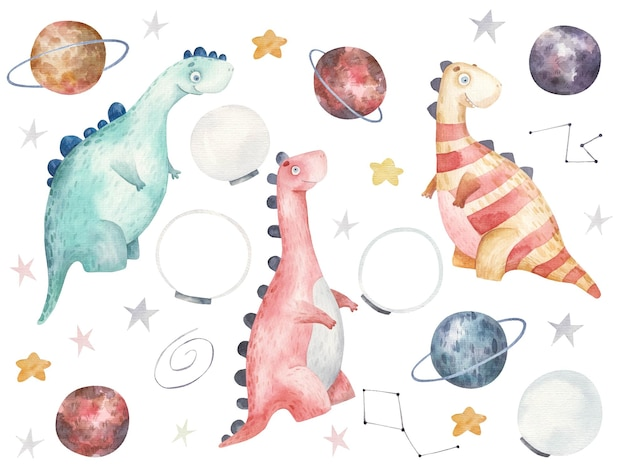 Set with dinosaurs in space, cute watercolor childrens illustration