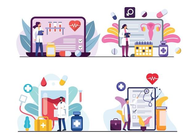 Набор с врачом и медиками, работающими или исследующими онлайн в мультипликационном персонаже, плоской иллюстрации, медицинской концепции