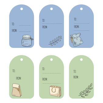Set with eco friendly gift tags. ecological and zero-waste labels collection. go green
