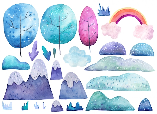 Set with elements of nature trees, earth, grass watercolor illustration