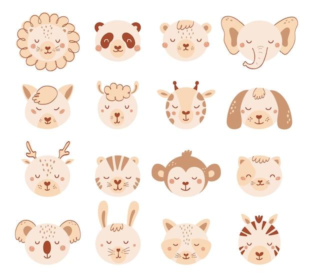 子供のためのパステルカラーのかわいい動物の顔を設定します。フラットスタイルの動物の赤ちゃんのキャラクターを収集します。猫、犬、ライオン、パンダ、白い背景で隔離のクマのイラスト。ベクター