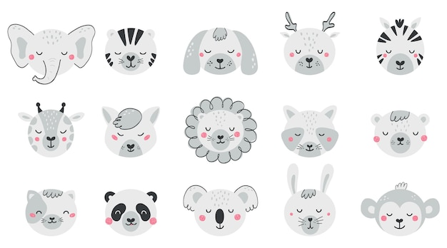 Set with faces cute animals for kid. collection baby animal characters in flat style. black and white illustration with cat, dog, lion, bear, fox isolated on white background. vector