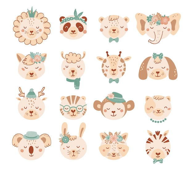 Set with faces cute animals in pastel colors for children. collection animal characters with flowers in flat style. illustration with cat, dog, lion, panda, bear isolated on white background. vector