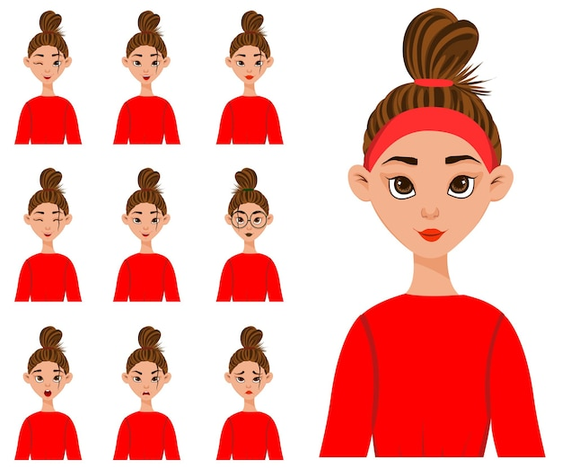 Set with a female character with different facial expressions and emotions.