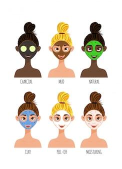 さまざまな肌の色と化粧品のフェイスマスクを持つ女性キャラクターを設定します。漫画のスタイル。