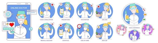 평면 만화 최소 스타일의 다른 포즈와 상황에서 여성 의사 과학자와 함께 설정