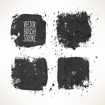 4つの黒いストロークの背景で設定します。手描きイラスト