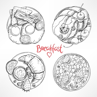 Set with four different types of breakfast. hand-drawn illustration