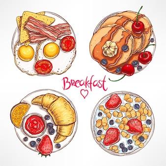 Набор с четырьмя разными видами завтрака. рисованная иллюстрация