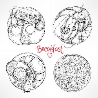 Набор с четырьмя различными типами завтрака. рисованная иллюстрация