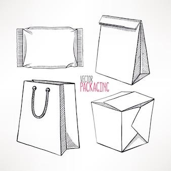 4種類のスケッチパッケージをセット。手描きイラスト