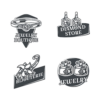 Set with four isolated monochrome jeweler logos