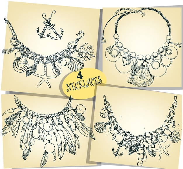 Set with four sketches of necklaces