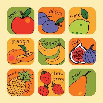 Набор с фруктами иконки