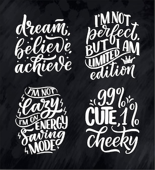 Set with funny hand drawn lettering compositions.inspirational feminism slogans. girl power quotes.