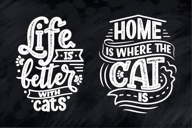 Set with funny lettering quotes about cats for print in hand drawn style.