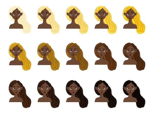 밝은 색에서 어두운 색까지 피부와 머리색이 다른 소녀들과 함께 설정합니다. 만화 스타일입니다. 벡터 일러스트 레이 션.