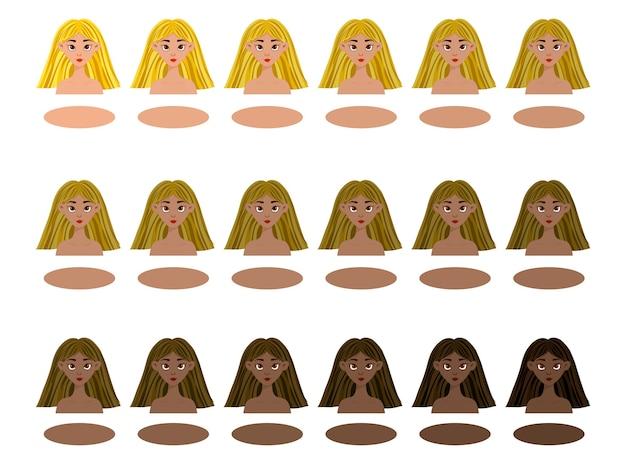 明るい色から暗い色まで、さまざまな肌と髪の色の女の子と一緒に設定します。漫画のスタイル。