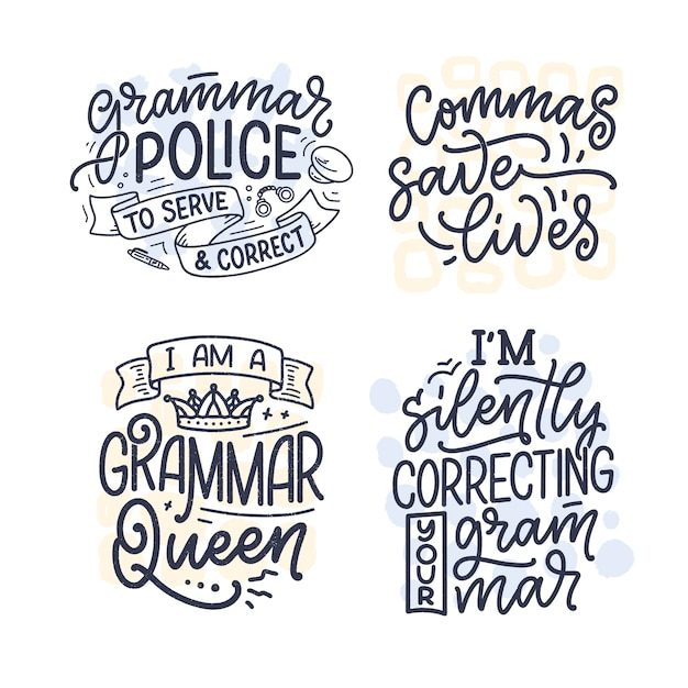 Set with hand drawn lettering compositions about grammar.