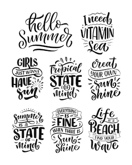 Set with hand drawn lettering compositions about summer. funny season slogans.