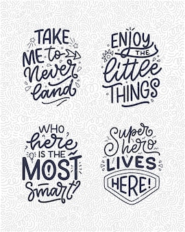 어린이 방을 위한 현대적인 서예 스타일로 손으로 그린 글자 따옴표로 설정합니다. 티셔츠 프린트와 인테리어 포스터를 위한 슬로건. 벡터 일러스트 레이 션