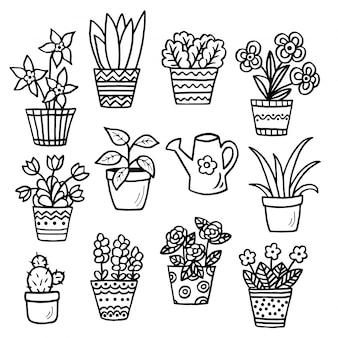 室内の植物が描かれた手描きの鍋でセット、ぬりえ