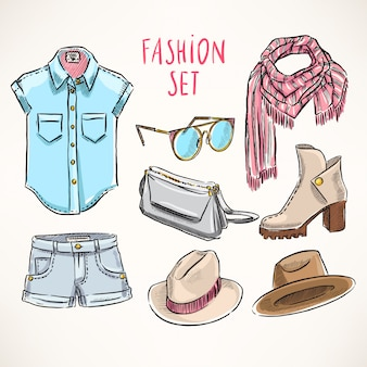 Set with hand-drawn youth clothing and accessories