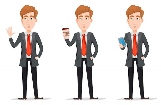 スーツでハンサムなビジネスマンを設定します。