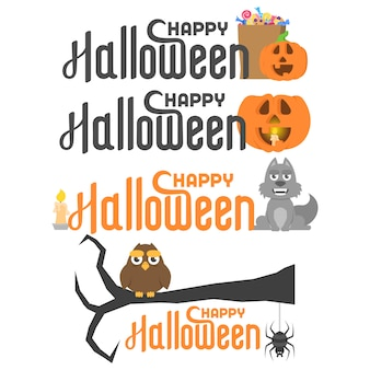 Set with happy halloween lettering and different characters