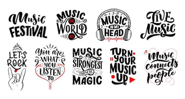 Set with inspirational quotes about music. hand drawn vintage illustration with lettering.