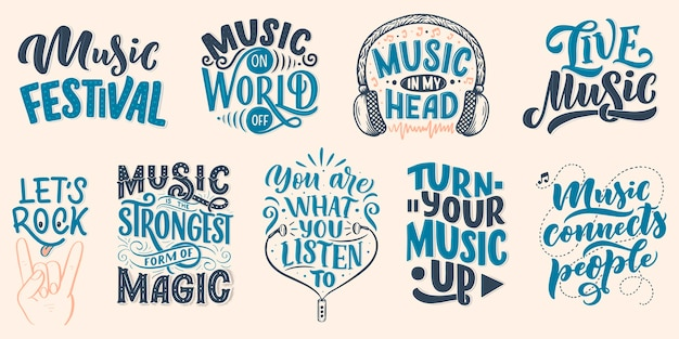 Set with inspirational quotes about music