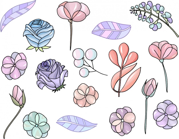 Set with isolated floral elements