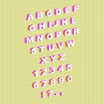アイソメトリックスタイルの英語のアルファベットと数字で設定ベクトル図