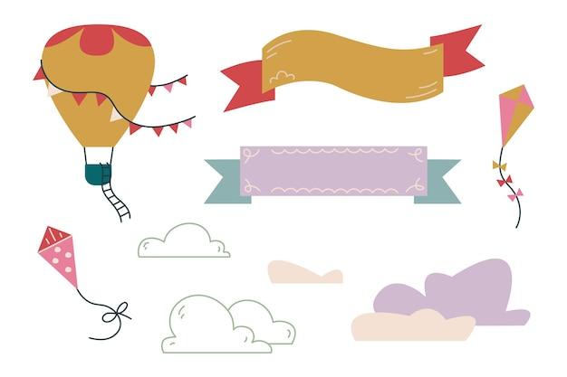 텍스트용 연, 구름 및 리본으로 설정합니다. 구름 벡터의 배경에 대해 하늘을 나는 것. 보육원이나 인쇄물을 위한 미니멀리즘. 흰색 클립 아트에 고립 된 아기 그림입니다.