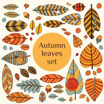 Set with leafs. autumn leaf background