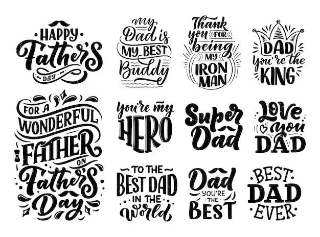 Set with lettering for father's day greeting card