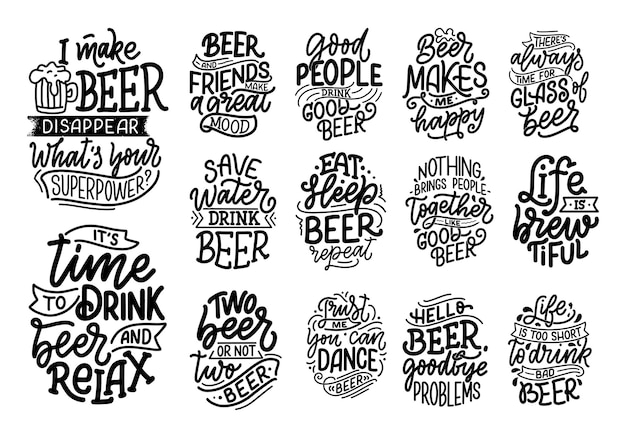 Set with lettering quotes about beer in vintage style.